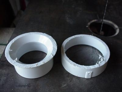 Cut off end of pipe reducer fitting